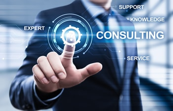 Man touching interface with wording consulting
