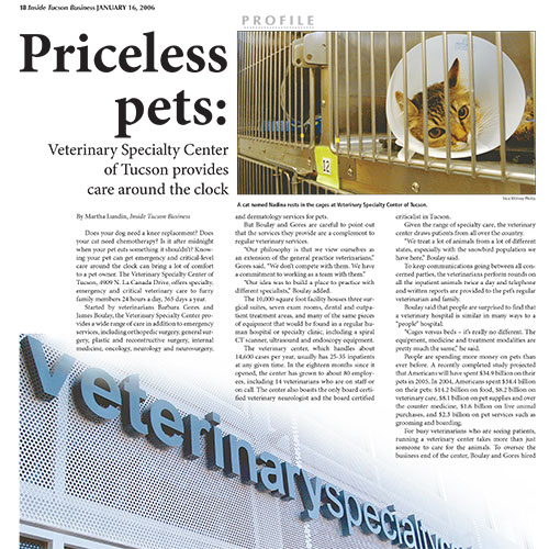 Priceless pets: Veterinary Specialty Center of Tucson provides care around the clock