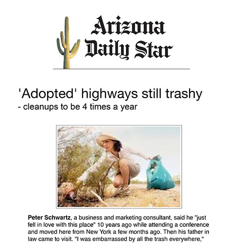 Screenshot of an article: 'Adopted' highways still trashy- cleanups to be 4 times a year