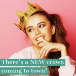 An advertisement showing a young girl wearing a crown