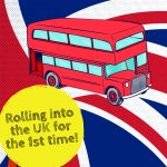 An advertisement showing a London bus against the background of the UK flag