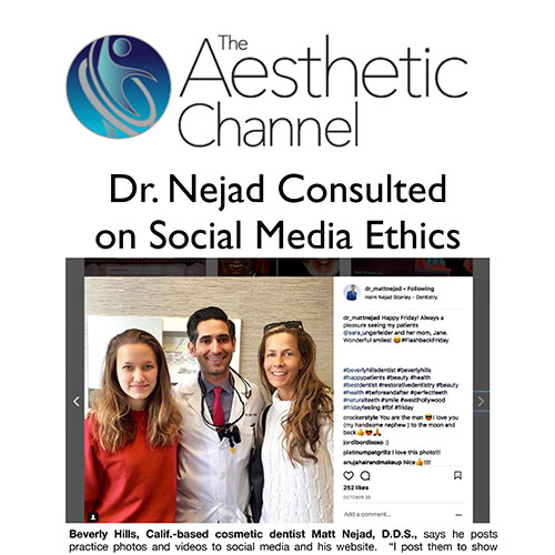 Screenshot of an article: Dr. Nejad Consulted on Social Media Ethics