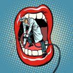Advertising graphics showing dentist jackhammer drilling teeth