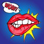 Advertising graphics showing large feminine lips