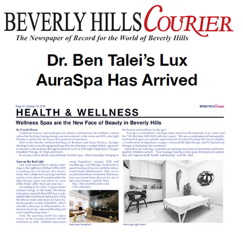 Screenshot of article: Dr. Ben Talei's Lux AuraSpa Has Arrived