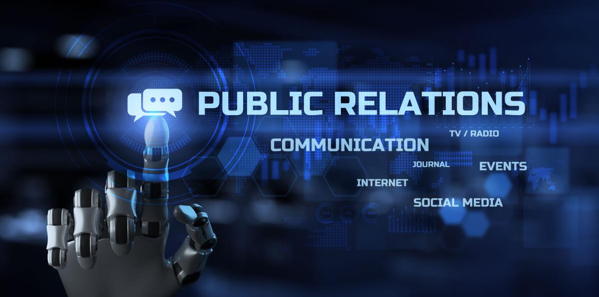 Public relations PR. Robot hand pressig button 3d render.